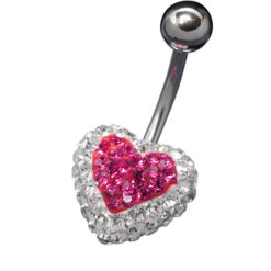 Surgical Steel Pink And White Crystal Heart Banana