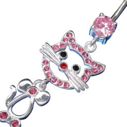 Surgical Steel & Sterling Silver Pink Cubic Zirconia Cat Banana