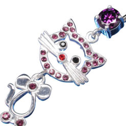 Surgical Steel & Sterling Silver Purple Cubic Zirconia Cat Banana