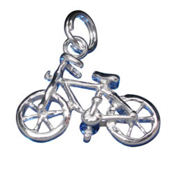 Sterling Silver 13x18mm Bicycle Charm With Split Ring