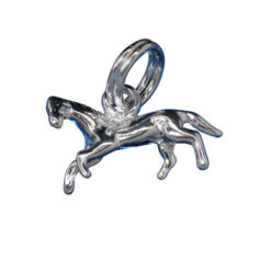 Sterling Silver 6x13mm Running Horse Charm With Split Ring