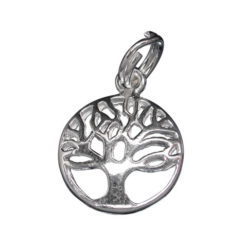 Sterling Silver 12mm Round Tree Of Life Charm With Split Ring