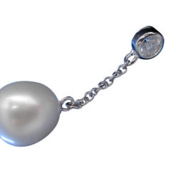Sterling Silver 34x9.5mm White Fresh Water Pearl And White Cubic Zirconia Pendant