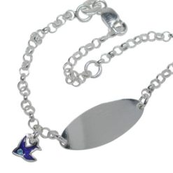 Sterling Silver 8mm Id Belcher Bracelet With Bluebird Charm 13-15cm