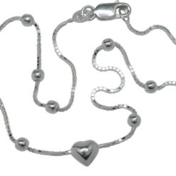 Sterling Silver 3mm Ball & 6mm Puff Heart On Box Chain Anklet 25cm