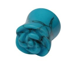 Turquoise Rose Flower Double Flared Plug 10mm (each)