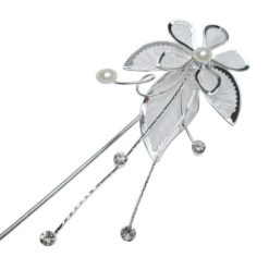Silver Plated 140x40mm White Imitation Pearl & Crystal Flower Hair Pin