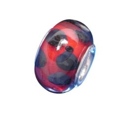 Sterling Silver Dark Red With Black Dots Glass Bead