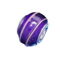 Sterling Silver Purple & Pink Line Glass Bead