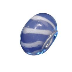 Sterling Silver Blue & White Striped Glass Bead