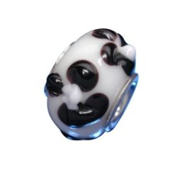 Sterling Silver White With Black Flowers Glass Bead