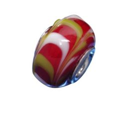Sterling Silver Maroon With Yellow & White Pattern Glass Bead