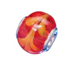 Sterling Silver Red With Orange Leaf Pattern Glass Bead