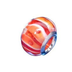 Sterling Silver Orange, Red And White Glass Bead