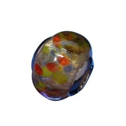Sterling Silver Gold Foil With Coloured Dots Glass Bead
