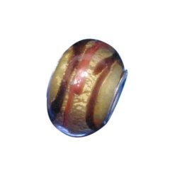 Sterling Silver Gold With Brown & Orange Stripes Glass Bead