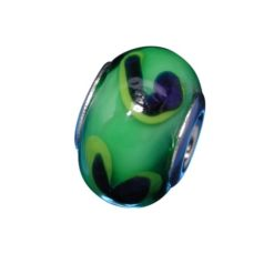 Sterling Silver Green With Blue Squiggle Glass Bead