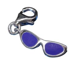 Sterling Silver Blue Enamel Sunglasses Clip Charm