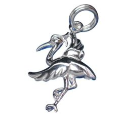 Sterling Silver 18x15mm Crane Bird Charm With Split Ring