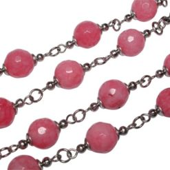 Stainless Steel 8mm Pink Agate Ball Plus 3mm Ball Necklet 70cm