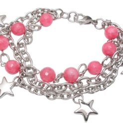 Stainless Steel 8mm Pink Agate Bead And Star Bracelet 20cm