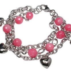 Stainless Steel 8mm Pink Agate Bead And Puff Heart Bracelet 20cm