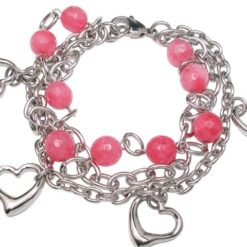 Stainless Steel 8mm Pink Agate Bead And Heart Bracelet 20cm