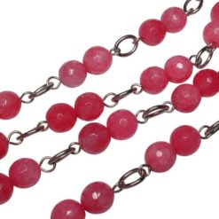 Stainless Steel 8mm Pink Agate Bead Necklet 86cm