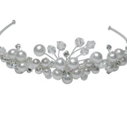 Silver Plated 30mm Crystal & Pearl Headband