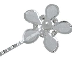 Silver Plated 30mm Crystal & Pearl Flower Hair Pin