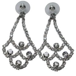 Silver Plated 50x30mm Crystal Chandelier Stud Earrings