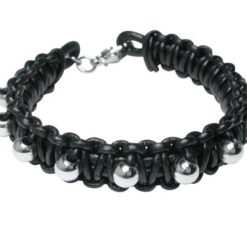 Stainless Steel 11mm Plaited Black Leather & Steel Ball Bracelet