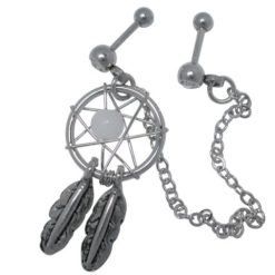 Surgical Steel Chain Linked Dangle Dream Catcher With White Crystals Double Cartilage/tragus Barbell