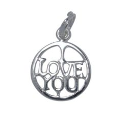 Sterling Silver 13mm *i Love You* Charm With Split Ring