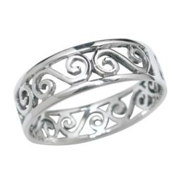 Sterling Silver 5mm Scroll Pattern Ring