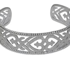 Sterling Silver White Cubic Zirconia Cuff Bangle