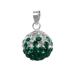 Sterling Silver 12mm Green & White Crystal Ball Pendant