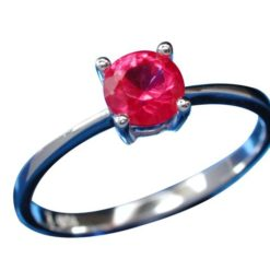 Sterling Silver 5mm Red Cubic Zirconia Ring