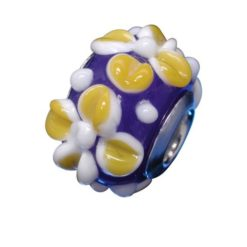 Sterling Silver Blue With Yellow Flowers Glass Bead