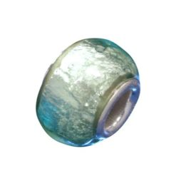 Sterling Silver Lime Green Foil Glass Bead