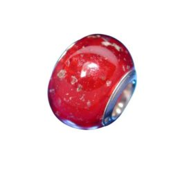 Sterling Silver Red With Gold Foil Glass Bead