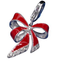 Sterling Silver 16mm Red Enamel & White Cubic Zirconia Christmas Ribbon Bow Clip Charm