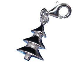 Sterling Silver 14mm Christmas Tree Clip Charm
