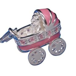 Sterling Silver 16x14mm Pink Enamel & Pink Cubic Zirconia Baby*s Pram With Moveable Wheels Clip Charm