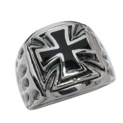 Sterling Silver 17mm Tapered Black Inlaid Cross Ring