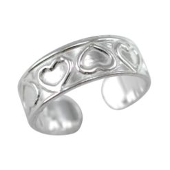 Sterling Silver 5.5mm Hearts Toe Ring