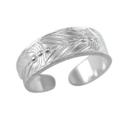 Sterling Silver 5mm Feather Pattern Toe Ring
