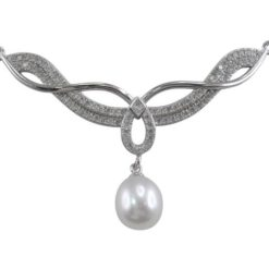 Sterling Silver 9mm Freshwater Pearl & White Cubic Zirconia 50x35mm Necklet 45cm
