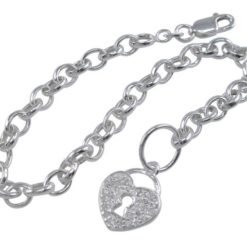 Sterling Silver 5mm Oval Becher With 13mm White Cubic Zirconia Heart Bracelet 19cm
