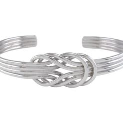 Sterling Silver 16mm Double Love Knot Cuff Bangle 63x50mm